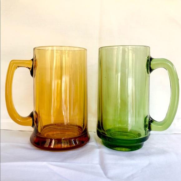 Mid century modern glass mugs